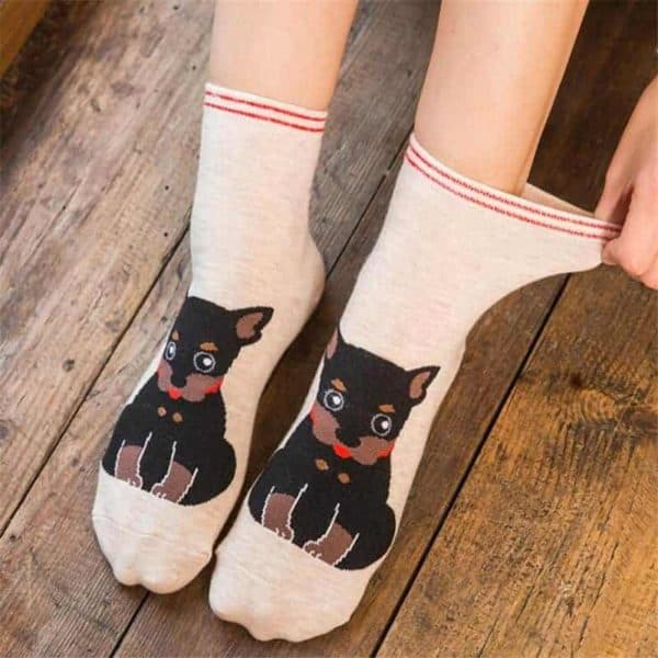 Fashion Cartoon Cotton Socks Women Korean Kawaii Dog Print Women Cute Socks Casual Meias Funny Harajuku 1