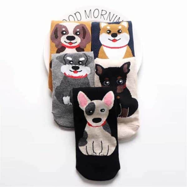 Fashion Cartoon Cotton Socks Women Korean Kawaii Dog Print Women Cute Socks Casual Meias Funny Harajuku 2