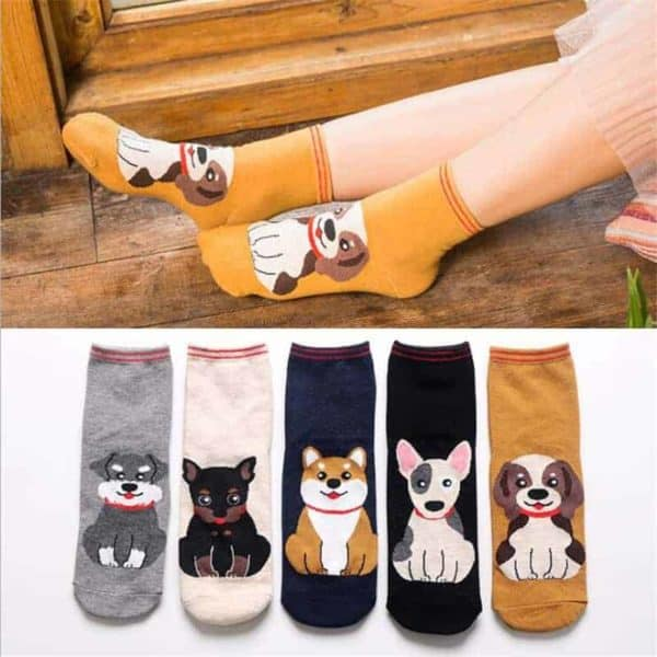 Fashion Cartoon Cotton Socks Women Korean Kawaii Dog Print Women Cute Socks Casual Meias Funny Harajuku