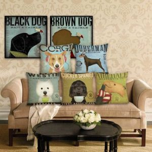 New Home Decor Dog Printed Cushion Cover Linen Pillowcase Decorative Throw Pillow Cover for Sofa 45x45