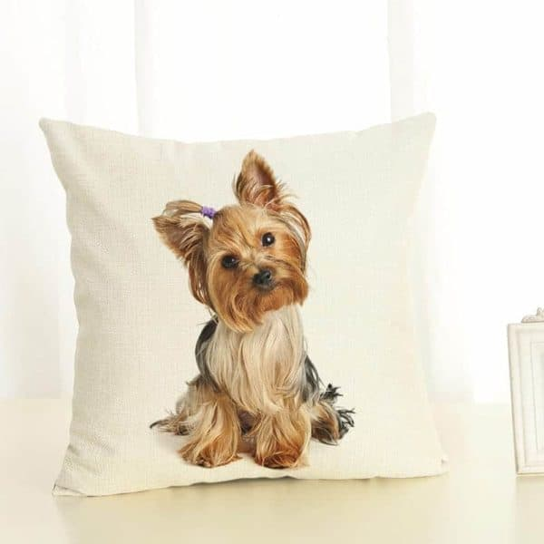New Home Decor Lovely Dog Printed Cushion Cover Linen Pillowcase Decorative Throw Pillow Cover for Sofa 1