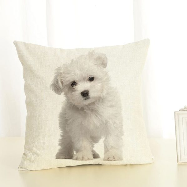 New Home Decor Lovely Dog Printed Cushion Cover Linen Pillowcase Decorative Throw Pillow Cover for Sofa 2