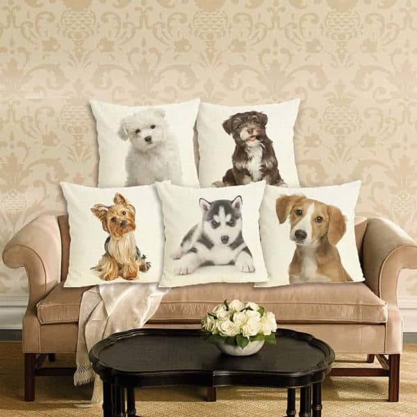 New Home Decor Lovely Dog Printed Cushion Cover Linen Pillowcase Decorative Throw Pillow Cover for Sofa