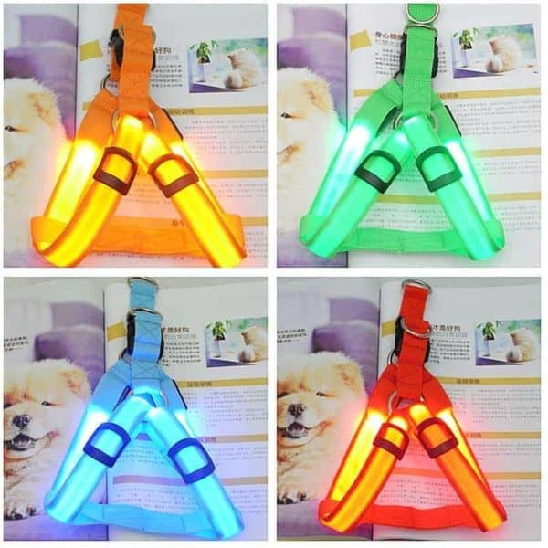 Rechargeable LED Nylon Pet Dog Cat Harness Led Flashing Light Harness Collar Pet Safety Led Leash 7