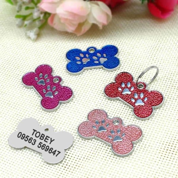 Personalized Dog Tags Engraved Cat Puppy Pet ID Name Collar Tag Pendant Pet Accessories Bone Paw 2